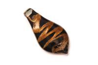 Glasanhänger im Murano-Stil  - schwarz -  Tropfen
