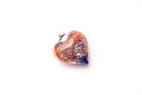 Glasanhänger Murano-Stil - blau - Herz Anhänger
