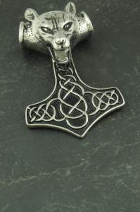 Großer Thors Hammer mit Wolfskopf, Wikinger Halsketten Schmuck aus Edelstahl