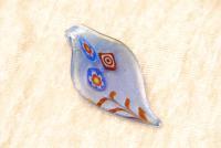 Millefiori Anhänger aus Glas - blau - Blatt