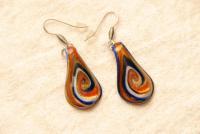 Ohrhänger aus Muranoglas - rot/blau - Tränen Form