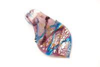 Schmuck Anhänger aus Glas im Murano-Stil - lila - Blattform