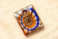 Schmuck aus Muranoglas - orange / blau - Anhänger quadratisch