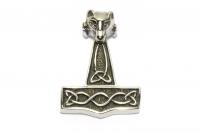 Thors Hammer mit Wolfskopf und Widderhörnern, Wikinger Anhänger aus Edelstahl