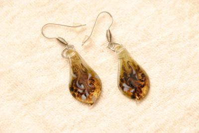 Glas Ohrhänger aus Muranoglas - gold - Glasanhänger Blatt Form