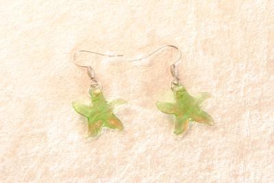 Ohrhänger aus Muranoglas - grün - Seestern