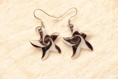 Ohrhänger aus Muranoglas - lila - Seestern Anhänger