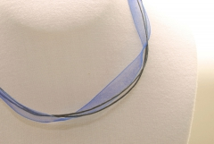 10 Stk. Organza Halsband - Halskette in blau ca. 45cm