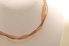 10 Stk. Organza Halsband - Halskette in braun ca. 45cm
