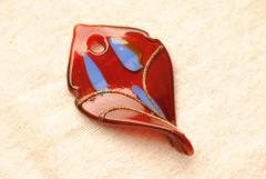 Anhänger im Murano Stil - rot - Blattform
