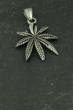 Cannabisblatt Anhänger aus Edelstahl