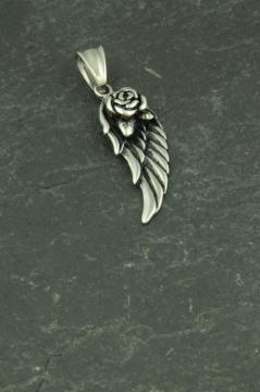 Flügel mit Rose, kleiner Kettenanhänger aus Edelstahl für Frauen