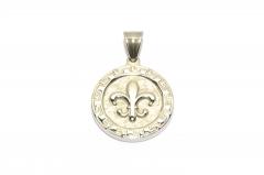 Französische Lilie Medallion, Halsketten Schmuck aus Edelstahl
