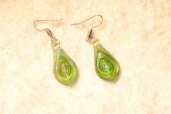 Glas Ohrhänger  aus Muranoglas - grün - Glasanhänger Tropfen