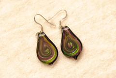 Glas Ohrhänger im Murano-Stil - lila - Glasanhänger Tropfen Form