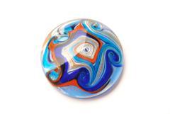 Glasanhänger Murano-Stil - blau - Anhänger Form: rund