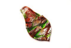 Glasanhänger Murano-Stil - rot - Anhänger Blatt Form