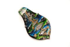 Glasanhänger Murano-Stil - schwarz - Anhänger Form: Blatt