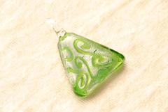 Glasschmuck aus Muranoglas - grün silber