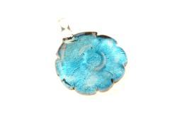 Glasschmuck im Murano-Stil - türkis/schwarz - Blüten Form