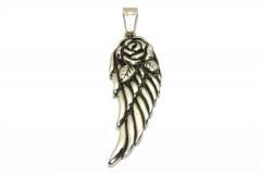 Flügel mit Rose, großer Edelstahl Anhänger für Halsketten für Frauen