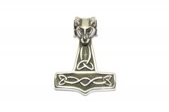 Großer Thors Hammer Mjolnir mit Widderkopf, Wikinger Edelstahl Anhänger für Halsketten
