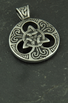 Großes Valknut Medallion, Anhänger mit Knotenmuster aus Edelstahl