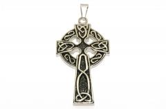 Keltisches Kreuz mit Knotenmuster, Valknut Ketten Schmuckanhänger aus Edelstahl