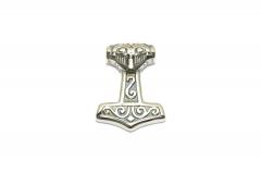 Kleiner Thors Hammer Mjolnir mit Maske, Wikinger Edelstahlschmuck für Halsketten