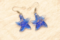 Ohrhänger, Ohrringe im Murano-Stil - blau - Seestern Anhänger