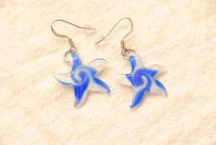 Ohrhänger aus Muranoglas - blau - Seestern Anhänger