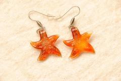 Ohrhänger aus Muranoglas - rot - Seestern Anhänger