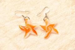 Ohrhänger aus Muranoglas - rot/orange - Seestern Anhänger