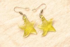 Ohrhänger im Murano-Stil - gelb - Seestern Anhänger