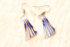 Ohrringe, Ohrhänger aus Muranoglas - weiss / blau / braun