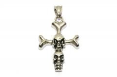 Kreuz mit Totenköpfen, Edelstahl Anhänger für Halsketten