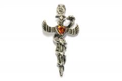 Schwert mit Schlange und rotem Stein, Ketten Schmuckanhänger aus Edelstahl