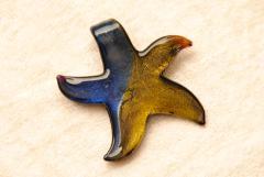 Seestern Anhänger aus Murano Glas - gold / blau