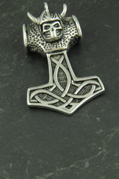 Thors Hammer mit Wikingerkopf, Edelstahl Anhänger für Halsketten
