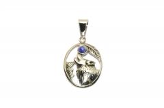 Wolf mit Lapislazuli Mond, Medallion Edelstahl Anhänger für Halsketten